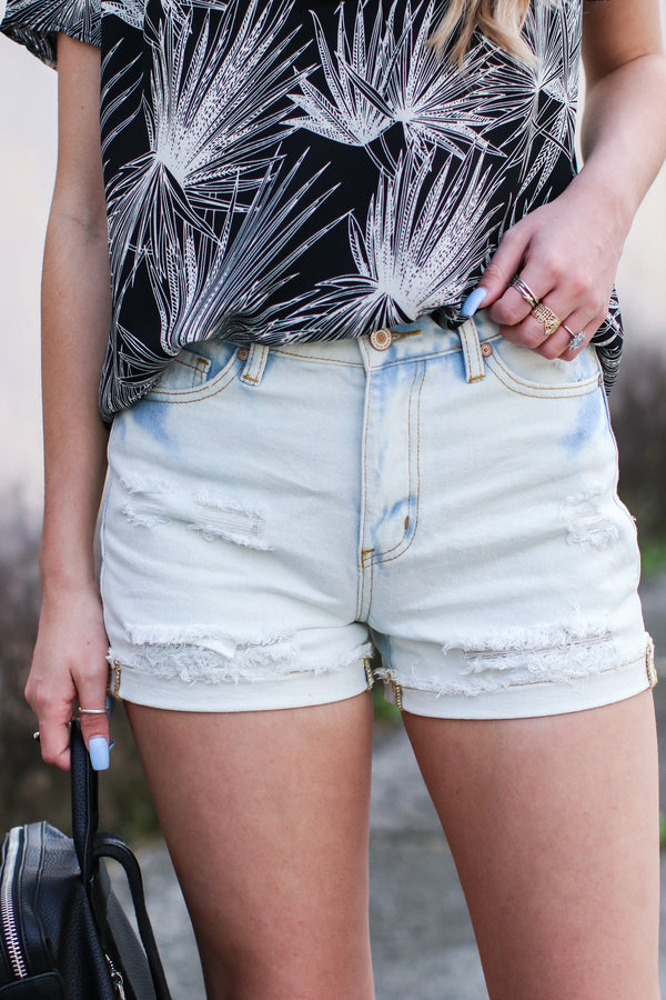 Visalia Distressed Denim Shorts - Madison and Mallory
