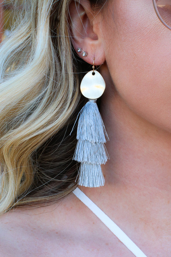 OS / Gray In Tune Hammered Tassel Earrings + MORE COLORS - Madison + Mallory