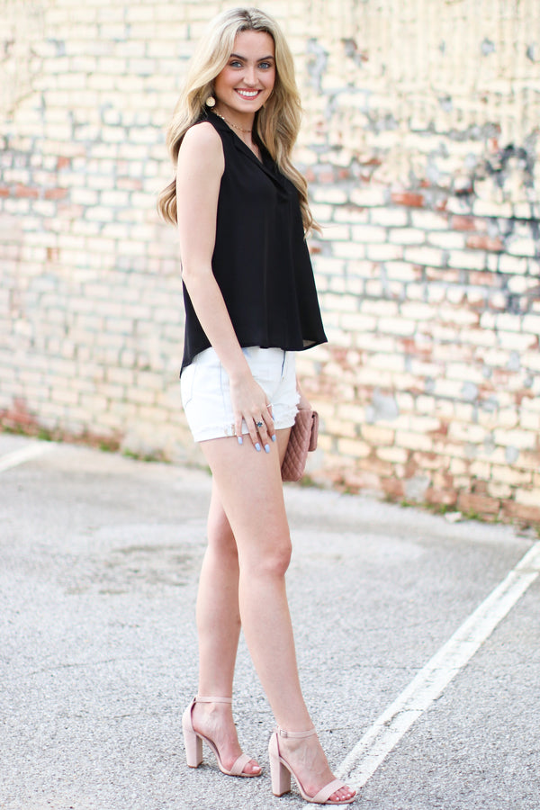 Capelli Notched Collar Tunic Tank - Madison and Mallory