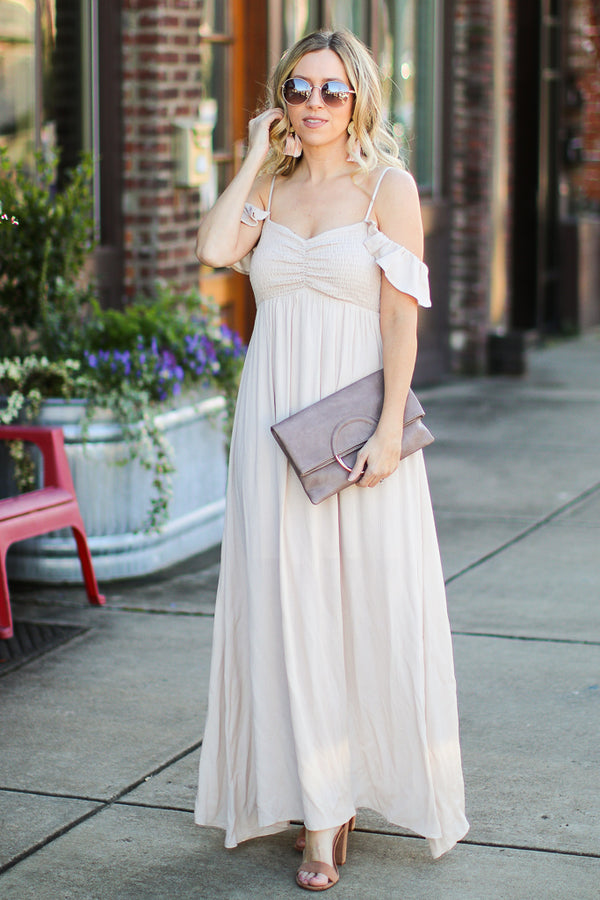 S / Almond Meet Me Here Open Shoulder Maxi Dress - Madison + Mallory