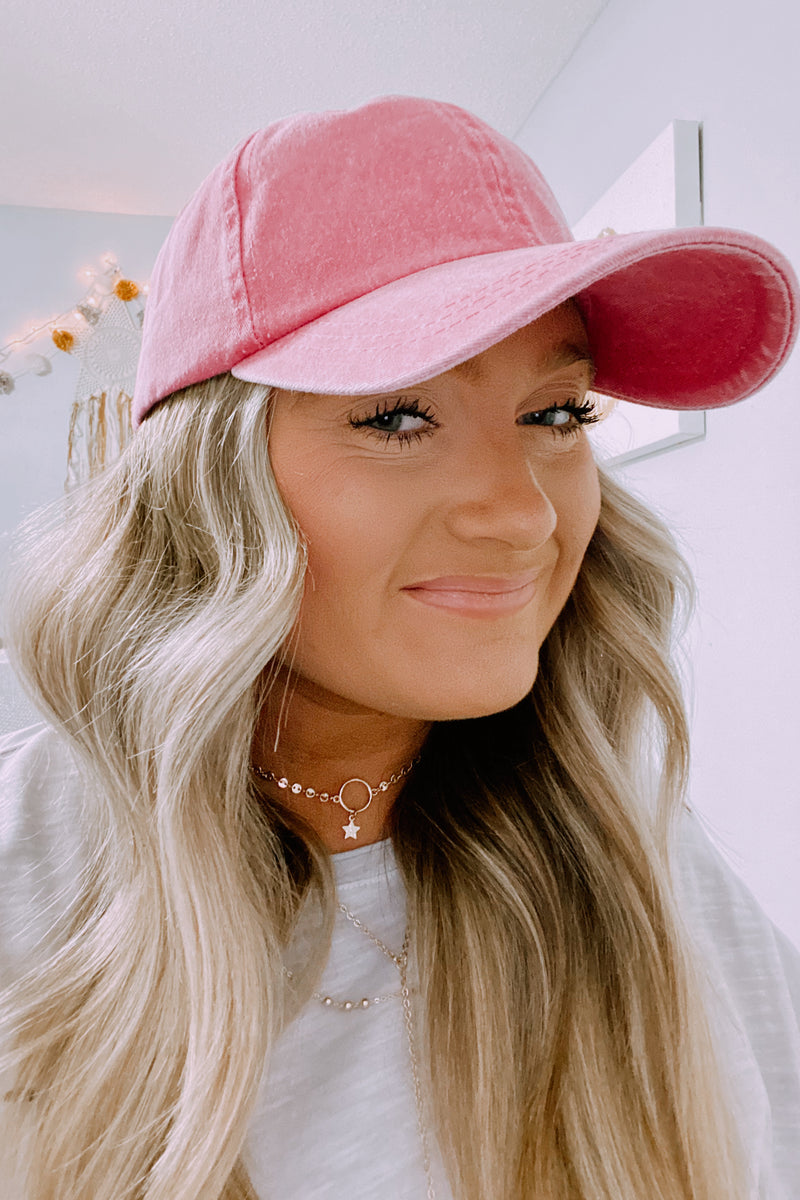 Hatteras Pigment Washed Baseball Hat - Pink - Madison and Mallory