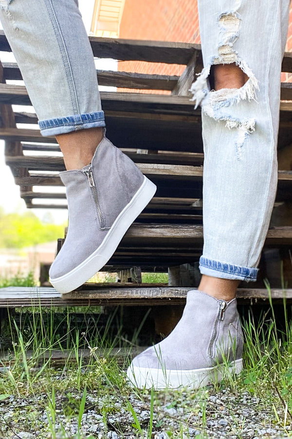 Follow the Beat Wedge Sneakers - Gray - Madison and Mallory