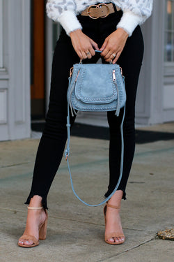 Blue Khloe Whipstitch Crossbody Bag - Blue - Madison + Mallory