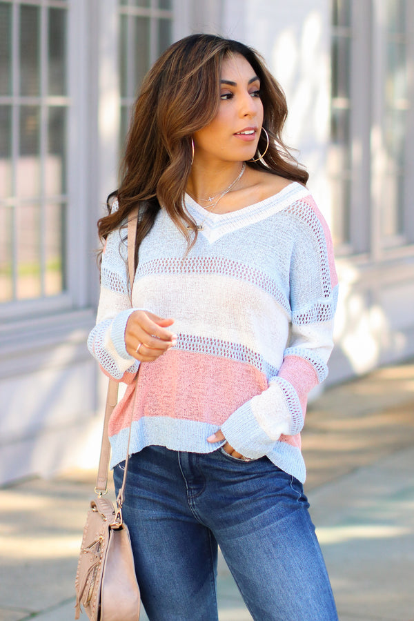 Blue / S Whatever You Like Color Block Sweater - Madison and Mallory