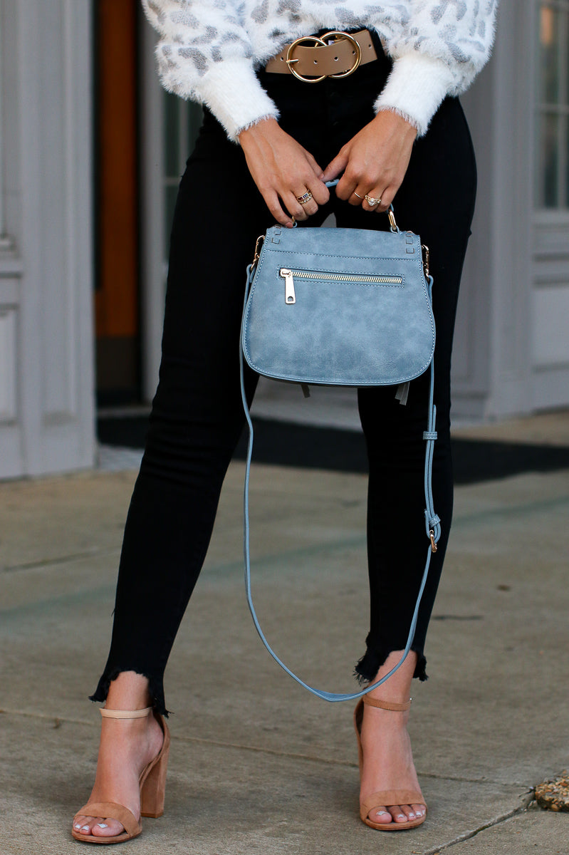 Khloe Whipstitch Crossbody Bag - Blue - Madison + Mallory