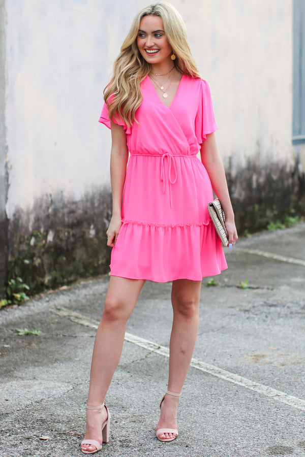 S / Hot Pink Made You Look Fit and Flare Dress - Madison and Mallory