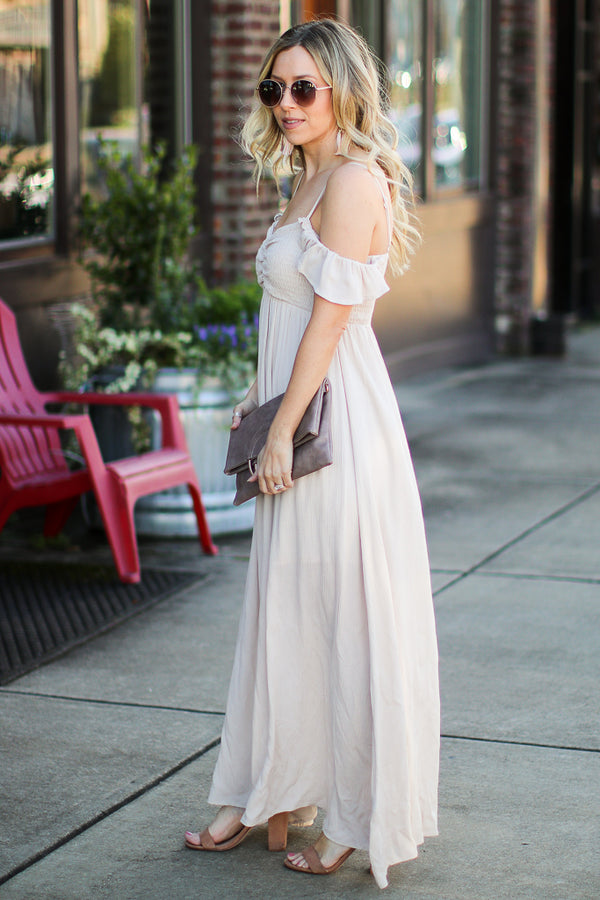 Meet Me Here Open Shoulder Maxi Dress - Madison + Mallory
