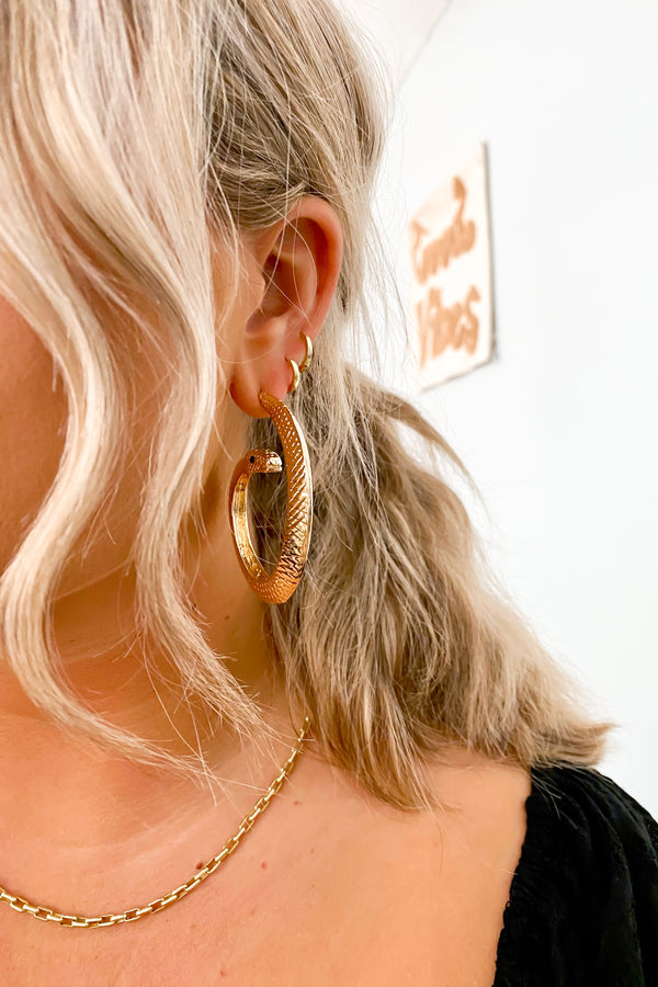 Gold Easily Charmed Snake Hoop Earrings - Madison and Mallory