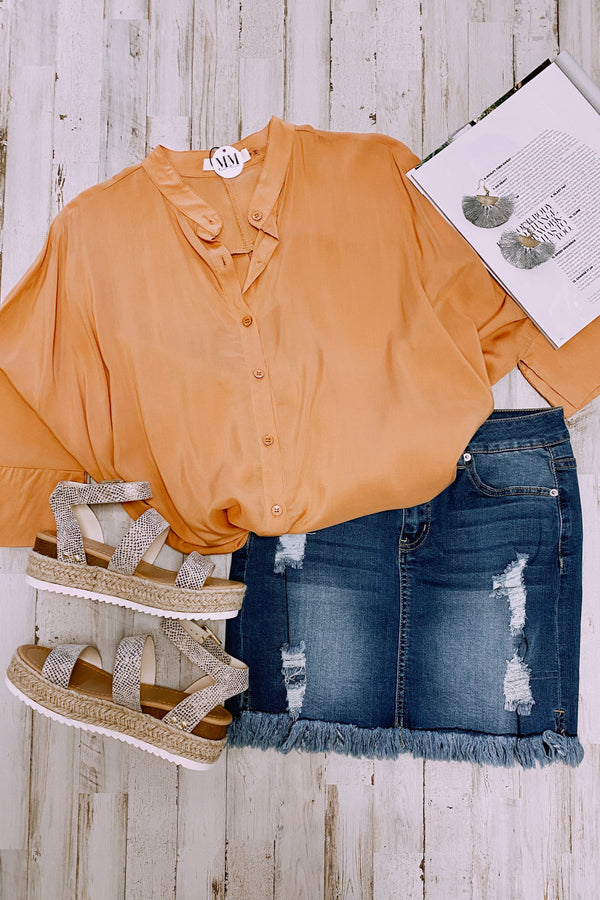 Celaeno Button Down Flowy Top - Honey - Madison and Mallory