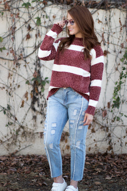 Block Stripe Chenille Sweater - Madison + Mallory