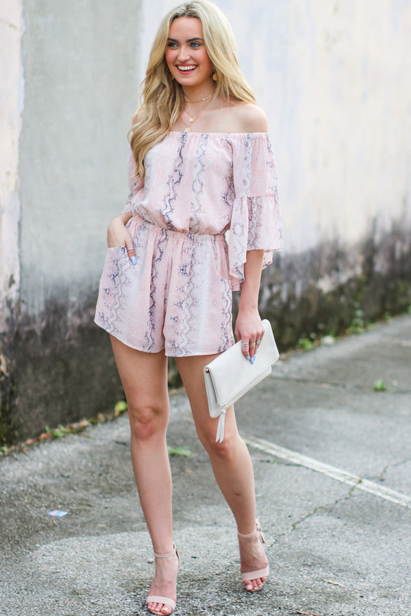 Lalana Off Shoulder Snake Print Romper - FINAL SALE - Madison and Mallory