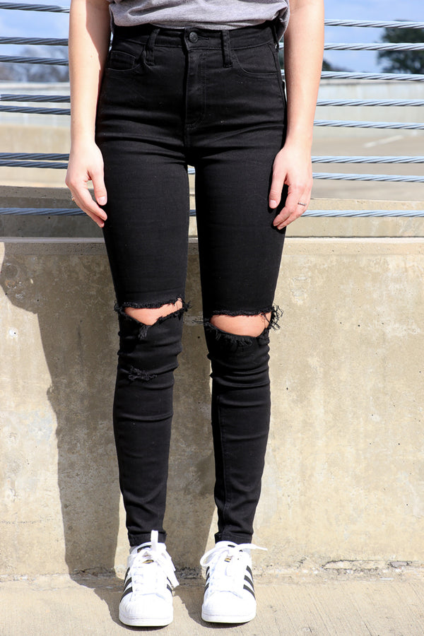 1 / Black Abbie Knee Slit Jeans - Madison + Mallory