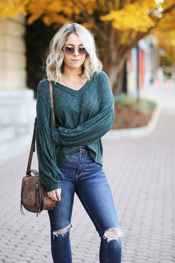 S / Green Lauralyn Marled Knit Top - Madison + Mallory
