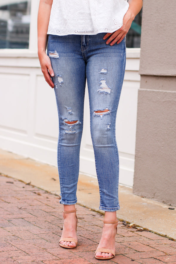1/25 / Medium Love Someone High Rise Distressed Skinny Jeans - Madison and Mallory