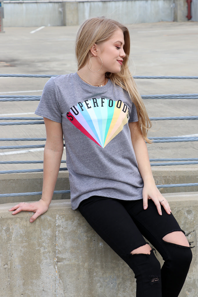 S / Heather Gray Superfoods Graphic Tee - FINAL SALE - Madison + Mallory