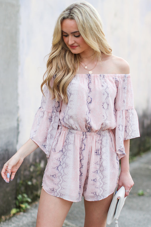 S / Light Pink Lalana Off Shoulder Snake Print Romper - FINAL SALE - Madison and Mallory