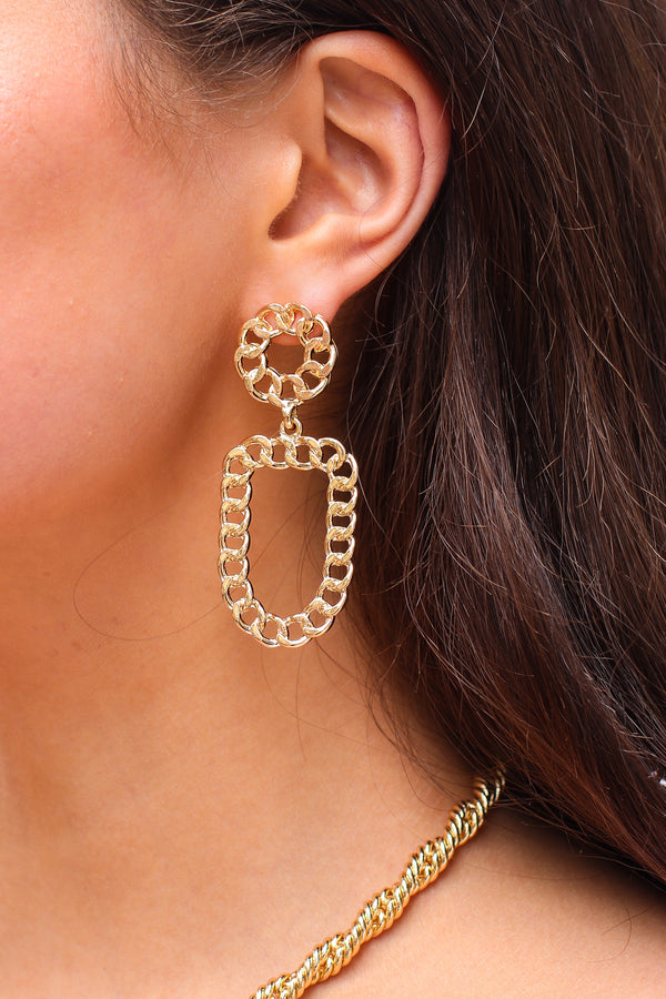 Gold Redefined Chain Drop Earrings - Madison and Mallory