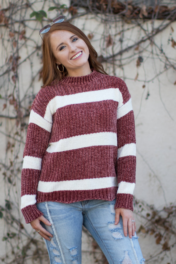 S / Dusty Rose Block Stripe Chenille Sweater - Madison + Mallory
