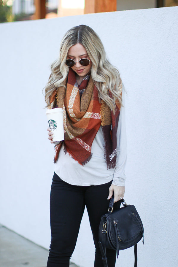 OS / Rust Stopping By Plaid Blanket Scarf - Madison + Mallory