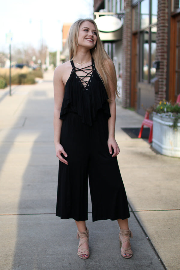 S / Black Lace Up Ruffle Jumpsuit - Madison + Mallory