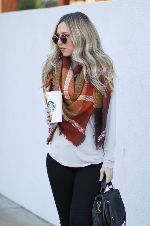 Stopping By Plaid Blanket Scarf - Madison + Mallory