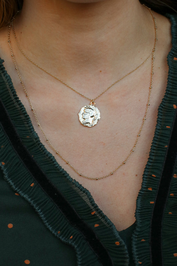 Gold Sivan Coin Layered Necklace - Madison and Mallory
