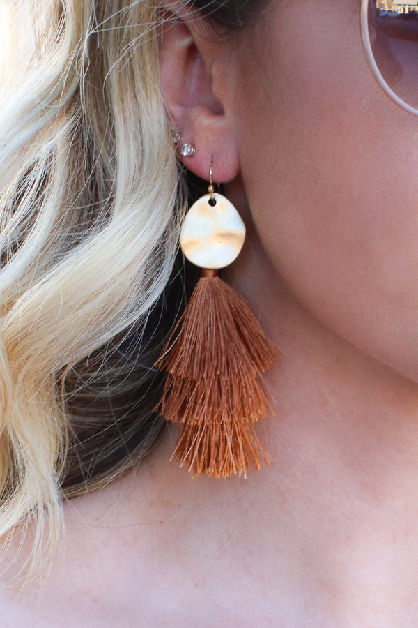 In Tune Hammered Tassel Earrings + MORE COLORS - Madison + Mallory