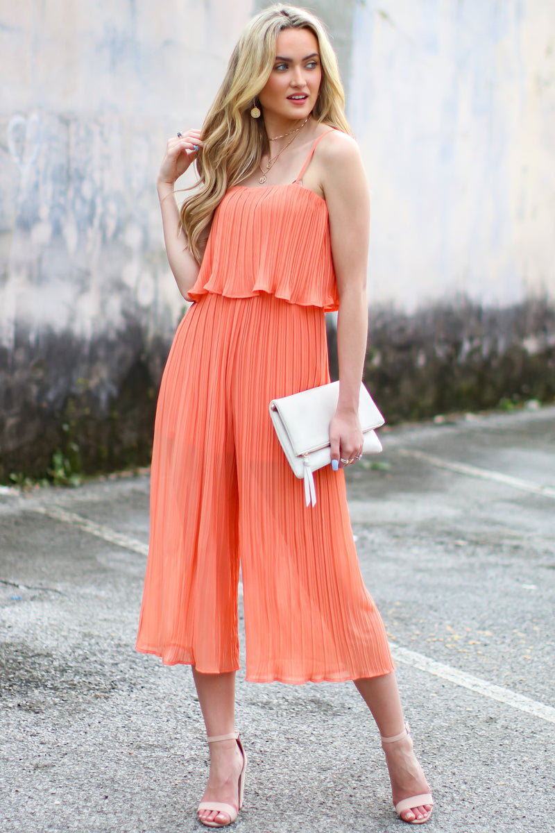 On the Record Pleated Flounce Jumpsuit - Madison and Mallory