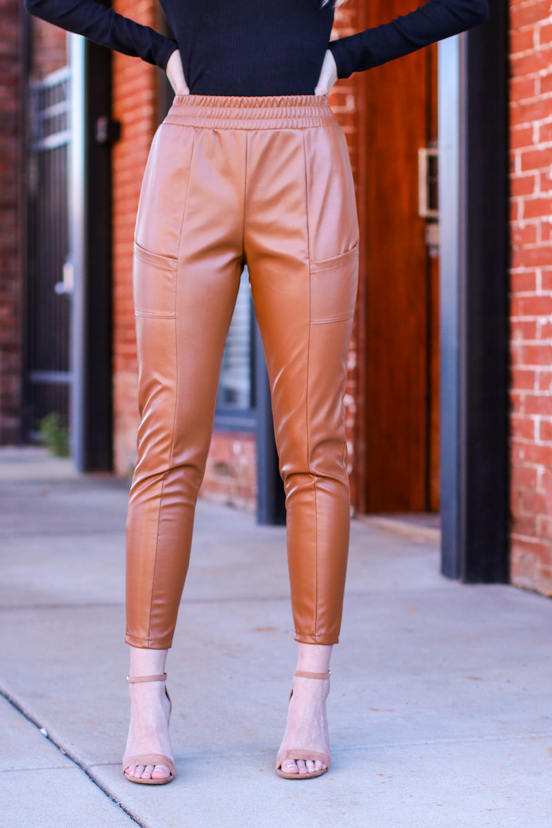 S / Camel Rule the World Faux Leather Pants - Madison and Mallory