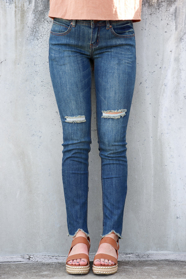 1 / Dark Denim Sara Skinny Jeans - FINAL SALE - Madison and Mallory