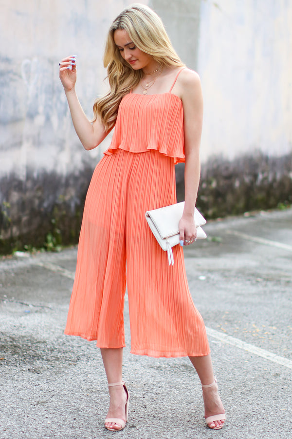 S / Coral On the Record Pleated Flounce Jumpsuit - Madison and Mallory
