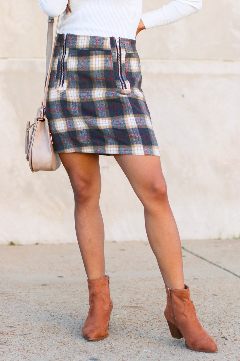S / Taupe Upstate Plaid Zip Skirt - Madison and Mallory