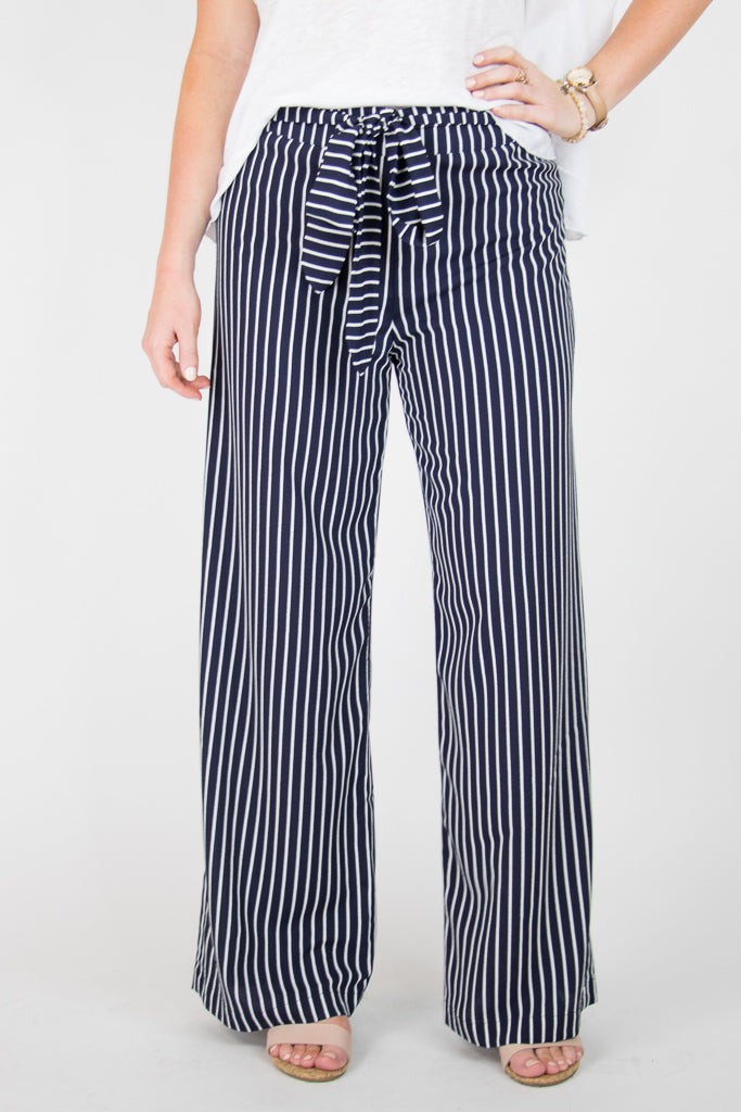 S / Navy Robyn Wide Leg Striped Pants - Madison + Mallory