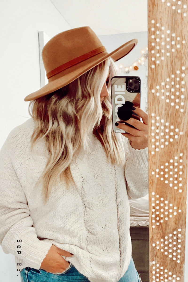 Ravenna Wide Brim Faux Wool Hat - Madison and Mallory