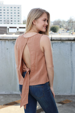 S Open Back Tie Tank Top - Madison + Mallory