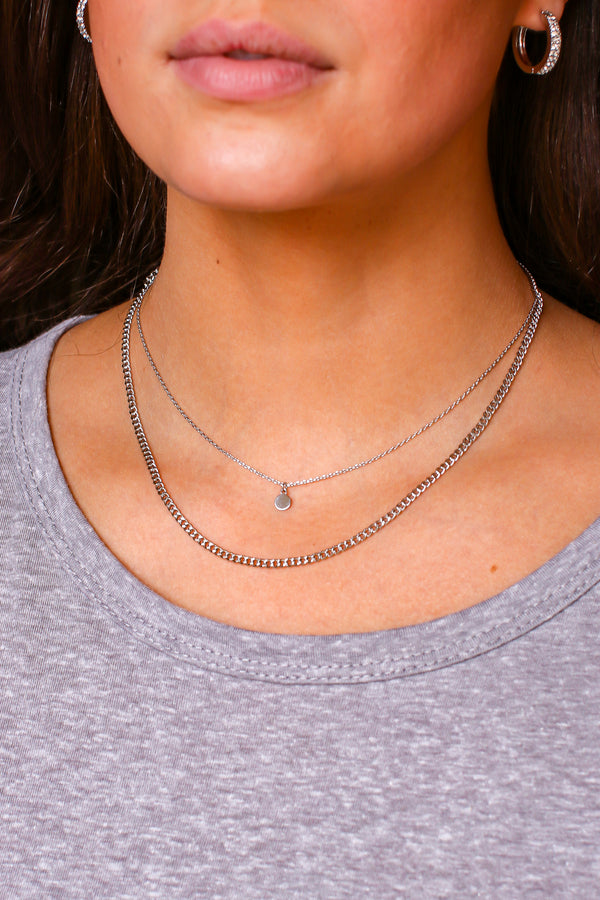 Silver Reign of Style Disc Layered Necklace - Madison and Mallory