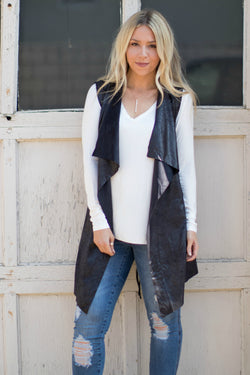 S / Black Satin Finish Vest | Curve - Madison + Mallory