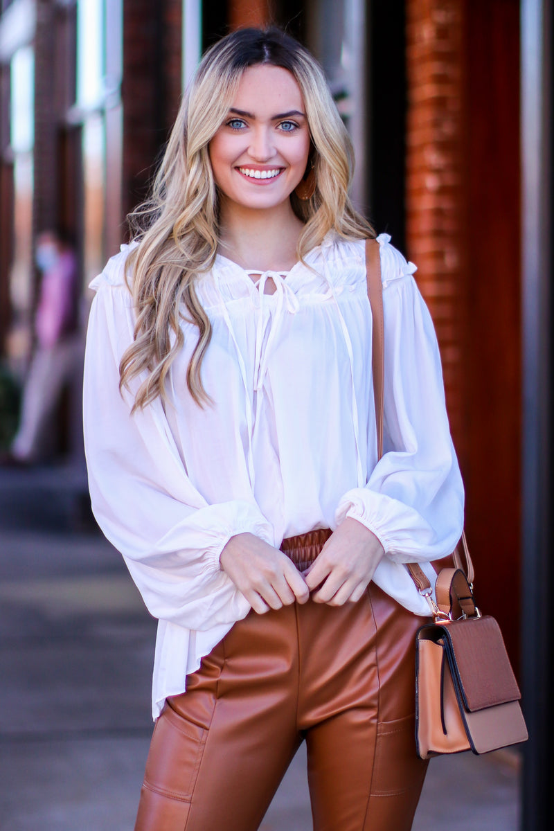 The Moment We Met Front Tie Ruffle Top - Madison and Mallory
