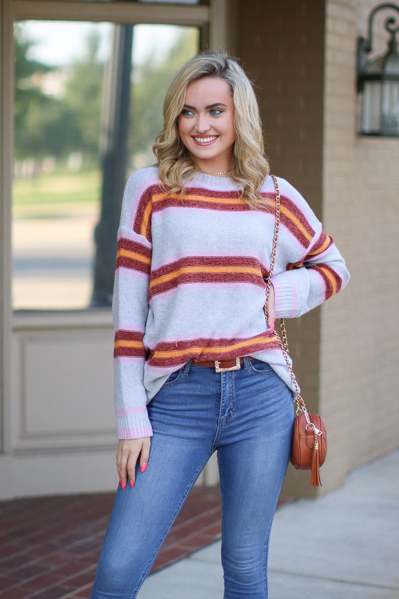 S / Gray Read Between the Lines Striped Sweater - Madison + Mallory