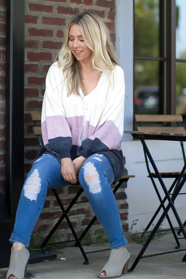 Oh So Easy Striped Chenille Cardigan - Madison and Mallory