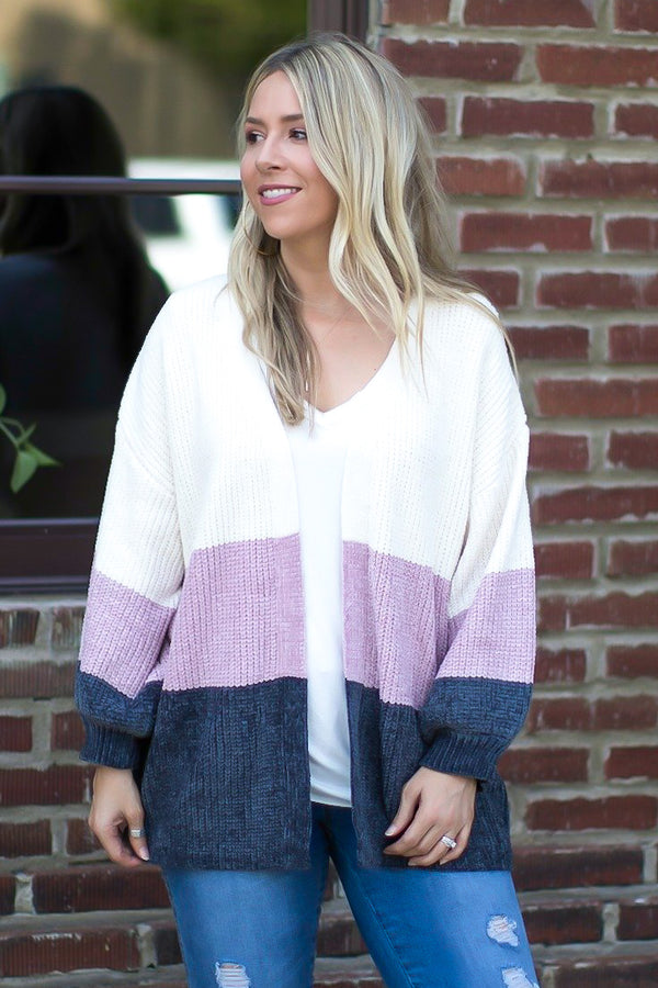 S / Mauve Oh So Easy Striped Chenille Cardigan - Madison and Mallory