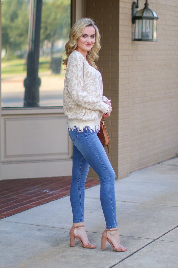 Wild Bunch Frayed Edge Leopard Sweater | S-3X - Madison + Mallory