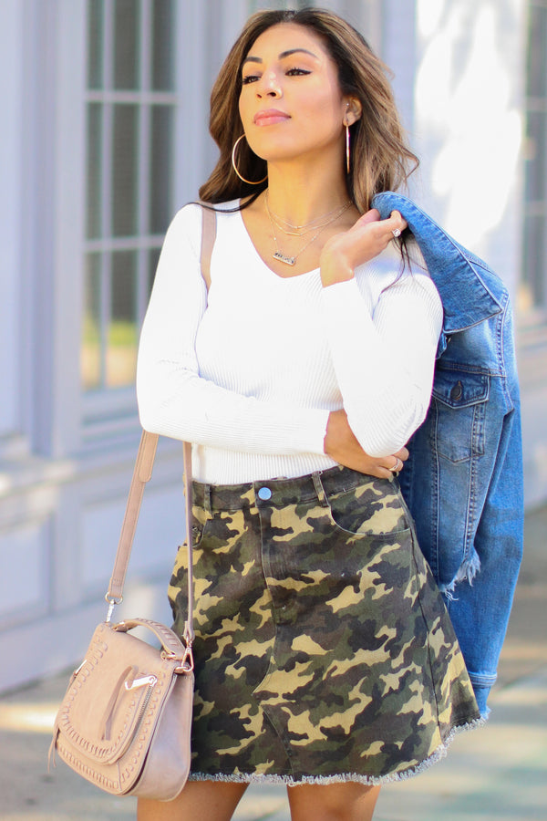 Tamera Raw Hem Camo Skirt - Madison + Mallory