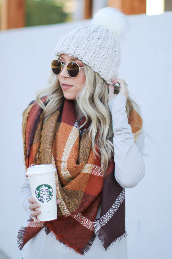OS / Ivory Cozy Is Calling Cable Knit Beanie - Madison + Mallory