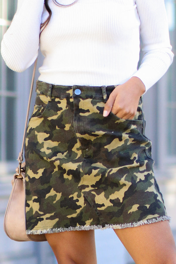 S / Olive Tamera Raw Hem Camo Skirt - Madison + Mallory