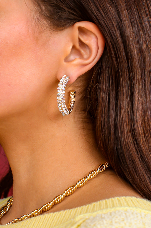 Gold Radiant Night Crystal Twist Hoop Earrings - Madison and Mallory