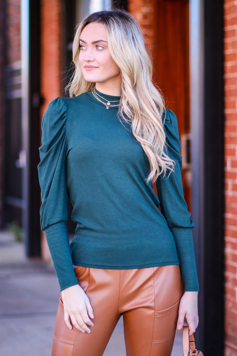 Jennilee Puff Shirred Sleeve Top - Madison and Mallory