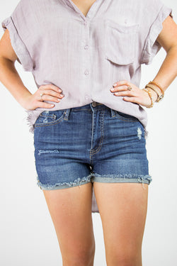 S / Dark Kelly Distressed Shorts - Madison + Mallory