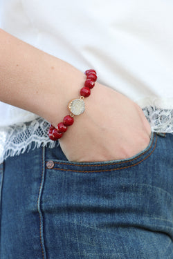 Burgundy Druzy Stone Bracelet + MORE COLORS - - Madison + Mallory