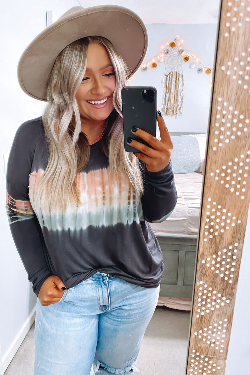 Cultivated Style Tie Dye Top - Charcoal - Madison and Mallory